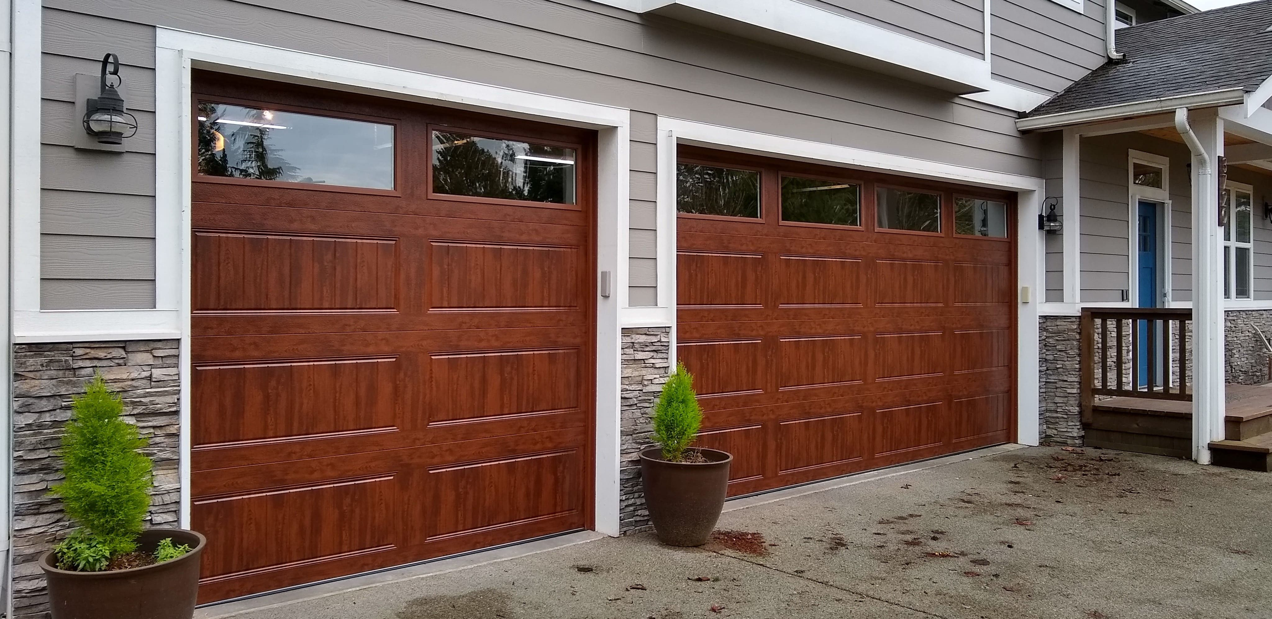 single and double car wood garage doors